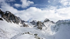 Panoramic view of the winter mountains. Kyrgyzstan.Ala-Archa Stock Footage