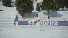 Cricket on ice bowling slow motion Stock Footage