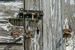 Rotting Wooden Shed Door - stock photo