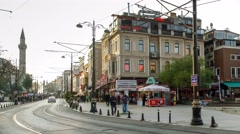 Traffic of transport in the historic district of Istanbul, Turkey. Timelapse.  Stock Footage