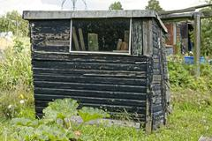 Rotting wooden Shed, Allotment Garden Stock Photos