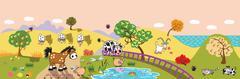 Stock Illustration of cartoon farm animals in the field banner