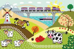 cartoon countryside  landscape - stock illustration