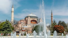 Hagia (Aya) Sophia - a historical monument in Istanbul.  Timelapse view - stock footage