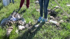 People collect garbage, pollution, waste sorting, landfills and poor people Stock Footage