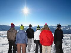 Group admiring mountain view - stock photo