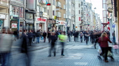 Very busy traffic of people on Istiklal Street. Istanbul, Turkey. Time lapse Stock Footage