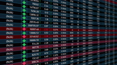 Stock market electronic chart with indexes rising falling, economic evaluation Stock Footage