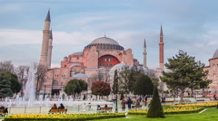 Hagia (Aya) Sophia .  Timelapse view. Transition day into night Stock Footage