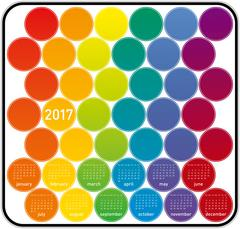 Colorful Calendar for year 2017 in a circles theme, in vector format. - stock illustration