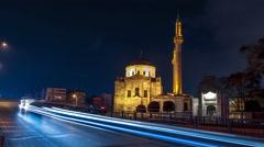 Valide Sultan Mosqueat night. Aksaray, Istanbul, Turkey. Timelapse Stock Footage