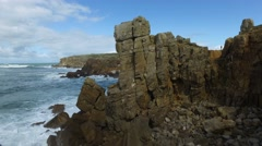 Rocky cliffs by the sea waves, Peniche Portugal Stock Footage