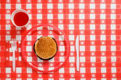 Elevated view of a hamburger - stock photo