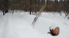 Old wooden skis on white snow Stock Footage