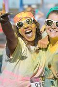 Runners Covered In Colored Corn Starch Celebrate Finishing Color Run Stock Photos