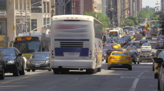 Commercial use footage busy street traffic Manhattan New York City NYC cars day - stock footage