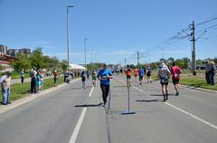 Belgrade, Serbia - April 16, 2016: 29th Belgrade Marathon. - stock photo