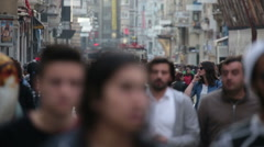 Crowd of people walking (close-up). Istanbul/Taksim/Istiklal/April/2016 Stock Footage