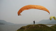 Dome of paraglider on a background of lake Stock Footage