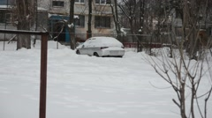 Driving in snow Stock Footage