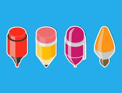 Isometric drawing tool icons. - stock illustration