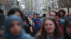Crowd of people walking (close-up). Istanbul/Taksim/Istiklal/April/2016 - stock footage