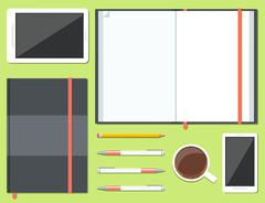 Set of opened and closed sketchbook - stock illustration