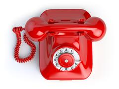 Red vintage telephone isolated on white. Top view of phone - stock illustration
