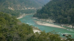 Turquoise water of the holy river Ganges near Rishikesh Stock Footage