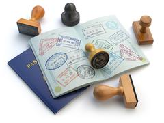 Travel or turism concept. Opened passport with visa stamps and different stam Stock Illustration