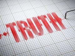 Truth concept.  Closeup of a polygraph lie detector with text. 3d Stock Illustration