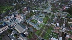 High Aerial Shot Of Whiteman & Butler College At Princeton University Stock Footage