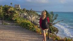 Tourist taking  photo of tulum mayan ruins Arkistovideo