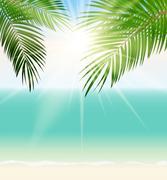 Stock Illustration of Summer Time Palm Leaf Seaside Vector Background Illustration