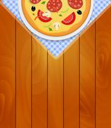 Pizza in White Plate on Kitchen Napkin at Wooden Boards Backgrou - stock illustration