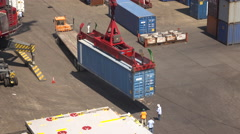 Dockyard Crane Unloads A Sea Container From A Truck - stock footage