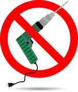 Ban drill icon flat Stock Illustration
