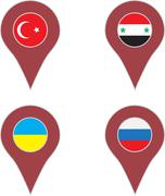 Pin location country set Stock Illustration