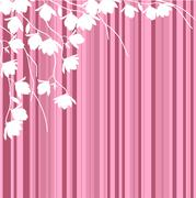 White magnolia branches on pink striped background - stock illustration