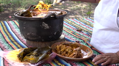 Serving A Traditional Mayan Chicken Dish Stock Footage