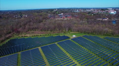 Flyover Of Solar Pannel Field At Princeton University Campus Stock Footage