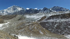 A panned view of the Himalayas in Nepal near Dingboche Stock Footage