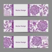 Set of horizontal banners with flowers - stock illustration