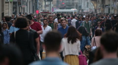 Crowd of people walking the streets. Istanbul/Taksim/Istiklal/April/2016 Stock Footage