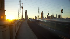 4K time lapse of sunset on the 4th Street bridge in Los Angeles Stock Footage