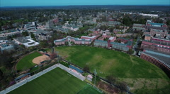 Flyover Roberts Stadium At Princeton University Campus Stock Footage