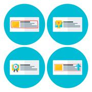 Advertising flat circle icons Stock Illustration