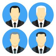 Flat style business men with four haircuts - stock illustration