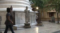 People visit Gangaramaya Buddhist temple in Colombo, Sri Lanka. Stock Footage