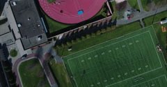Overhead View Of Weaver Stadium & Powers Field At Princeton University Campus Stock Footage